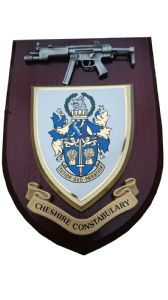 Cheshire Constabulary Police Service with Pewter MP5 Wall Plaque